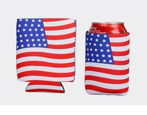 Amerikan Bayrağı Bira Şişesi Soğutucu Kollu Neopren Koruma Yalıtım Kol Tutucu Yumuşak İçecekler Fermuarlı Kapakları Ile Multicolors