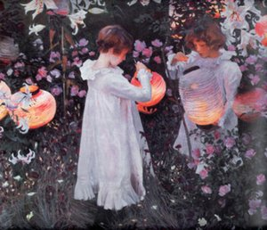 John Singer Sargent - Carnation Lily Lily Rose & children Handpainted & HD Printed Art oil painting On High Quality Canvas Wall Art p371