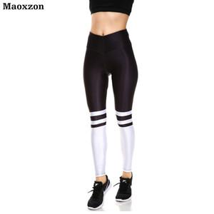 Maoxzon Womens cintura alta Sexy entrenamiento Fitness Slim Leggings pantalones para mujer a rayas de impresión gimnasio elástico Skinny Pants XS