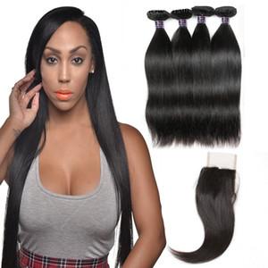 Ishow Бразильские волосы Weaves 10A человеческие пачки волос с закрытием прямые перуанские наращивания волос 4 барабаны ветки для женщин девушки все возрасты натуральный цвет 8-28 дюймов