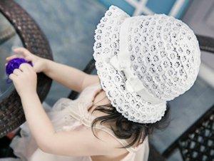 Bow Cap Çocuk Beyaz Dantel Şapka Çocuk Kız Bebek Güneş Hat ile Sevimli Moda Kız Bebek Şapka
