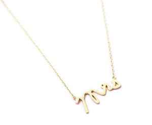 10pcs English alphabet initials MRS madam Mrs Necklace Small Stamped Word Initial Necklace Tiny Love Alphabet Letter Necklaces