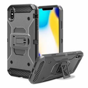 Housse dur hybride avec clip ceinture pour iPhone XS XR Max 8 7 6S Plus / Samsung Galaxy Note 9 S9 Armure Robot plastique Housse en silicone
