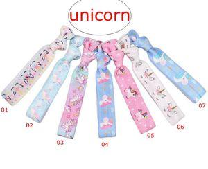 (Opzione 7 Colori) Ins Unicorn Stampa completa Capelli Capelli annodati Nastro Stampa Capelli Tie Ponytail Titolari elastici Elastico Lettera floreale Fascia floreale