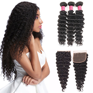 Malaysian Deep Wave With Closure Hair Bundles With 4x4 Lace Closure 8A Unprocessed Human Hair Weaves 3 Bundles Deep Wave Hair With Closure