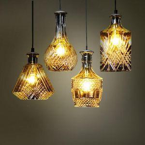 Vintage engraved flower creative glass vase pendant lamp showcase restaurant bar bedroom cafe glass bottle chandelier