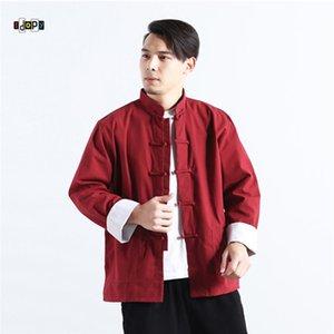 Idopy Men`s Chinese Traditional Leinenbaumwollder Tai Chi Mandarine-Kragen-Frosch-Knopf-Hemd