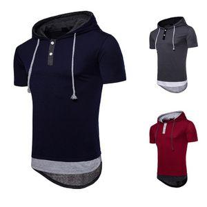 Мужской одежды Eur размер топ тройник большой двор с капюшоном ярусы хип-хоп мужской футболки S-2XL высокой уличной