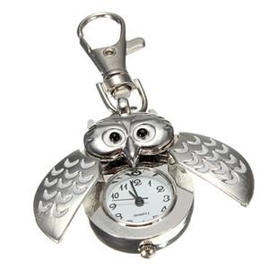 실용 더블 오픈 올빼미 열쇠 고리 포켓 시계