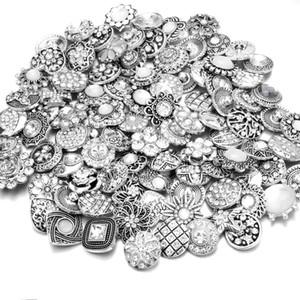 20PCS 여성 DIY 스냅 버튼 보석에 대한 많은 고품질 믹스 많은 모조 다이아몬드 스타일 금속 매력 18mm 스냅 버튼 팔찌