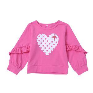 Bambini rosa cuore felpa cotone bambini ragazze top volant manica lunga dot magliette primavera autunno tees abbigliamento bambino c5498