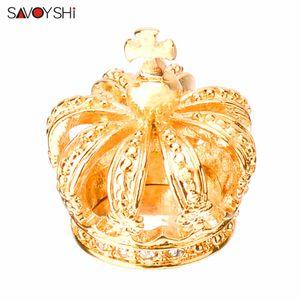 SAVOYSHI Crystal Crown Broche Pins femmes robe pour collier d'or Broches Hommes Pin Broches Bijoux de mode Fiançailles cadeau