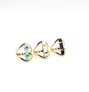 패션 주얼리 천연 돌 반지 육각 프리즘 화이트 블루 여성 보석을위한 청록색 반지