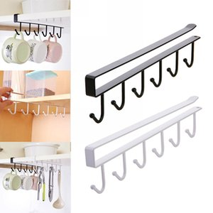 Küche Storage Rack Schrank hängend Kaffeetasse Organizer Closet Kleidung Regal Hanger Garderobe Glasbecher-Halter mit 6 Haken