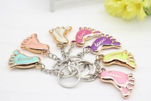 100pcs lot Cute Mini Foot Shaped Keychains Love Keyrings for Baby Shower Baptism Gifts Giveaway Souvenirs Free Shipping