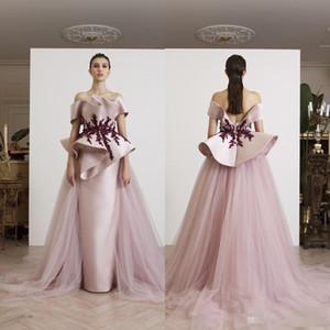 AzziOsta Tulle Over-Skirt가있는 멋진 이브닝 가운으로 어깨 돋보이는 아플리케 핑크 블로잉 이브닝 드레스 promes Backless Satin