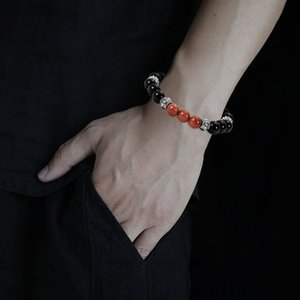 pierre volcanique naturelle 8 mm perles de Charms Bracelet Hip Hop bijoux de mode bracelet Hommes Charm Bracelets