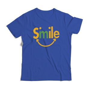 الصيف القطن القمم جديد ابتسامة رسالة الطباعة قصيرة تي شيرت التصميم الإبداعي الملابس الذكور عارضة تي