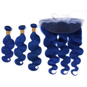 Maquillaje del pelo humano azul marino de Malasia Paquetes Onda del cuerpo Ondulado con encaje Cierre frontal 13x4 Pure Blue Virgin Extensiones de trama del cabello Frontales