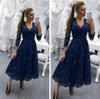 2019 мать невесты платья v шеи темно-синие синие длинные рукава кружева аппликации бисера свадьба гостевая платье длина чая вечерние платья