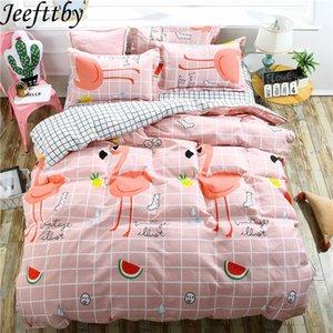Jeefttby Home Textile Rose Flamingo Cartoon 3 / 4pcs Ensembles De Literie Housse De Couette Taie D'Oreiller En Linge De Lit Twin Complet Queen King Size