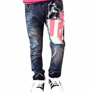 Crianças Meninos Longo Denim Pant Moda Bandeira Impresso Fino Casual Jeans Boy Moda Crianças Calça Jeans Crianças Roupas de Bebê Menino
