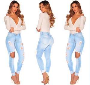 Vente chaude Déchiré Jeans Denim Joggers Trous De Genou Slim Fit Jeans Pour Les Femmes Bleu Rock Star Femmes Jumpsuit Détruit Jeans Petit Ami Crayon