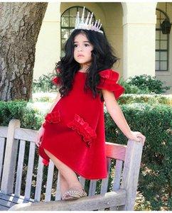 2 couleur 2018 INS été NOUVELLE arrivée Filles Enfants Velvet soild couleur robe Sans Bretelles dentelle manches princesse robe enfants fille robe livraison gratuite