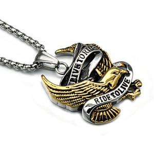 316L en acier inoxydable Biker pendentif Colliers Le tour des hommes à vivre Lettre Eagle Charms Longue chaîne en acier de titane Pour Hommes s