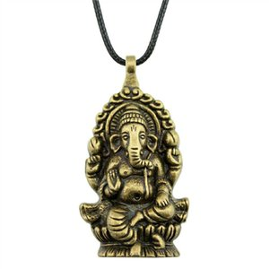 WYSIWYG 5 Pieces Leather Chain Necklaces Pendants Choker Collar Male Necklace Fashion Ganesha Buddha Elephant Pendants 62x32mm N6-A11229