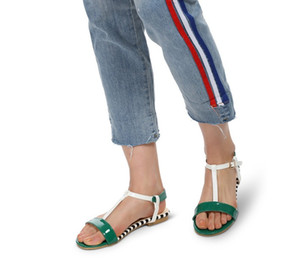 European and American fashionable style spell color fish mouth sandals flat soles bare toe foot strap size 35-42