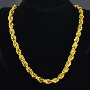 Hip Hop 24 Inches Mens Solid Rope Chain Necklace 18k Yellow Gold Filled Statement Knot Jewelry Gift 7mm Wide