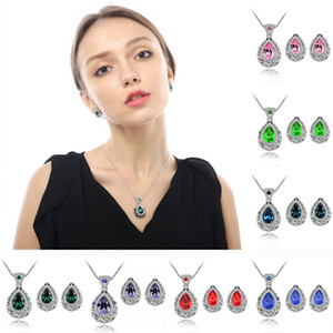 fashion water drop jewelry set for women crystal Diamond queen water drop pendant necklace earrings wedding party Jewelry Sets Gift