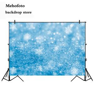all'ingrosso Sfondo Neve Fotografia Glitter Blue Bokeh sfondo per il Photo Booth Studio di Natale blu fiocco di neve Puntelli 925