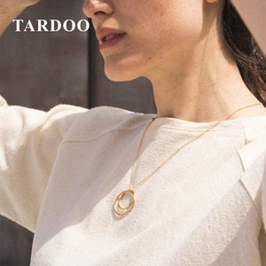 Tardoo Cross Circle Pendant Necklace 925 Silver Round Pendant Necklace Women Fine Jewelry Gold Link Chain Double Circle Necklace Y18102910