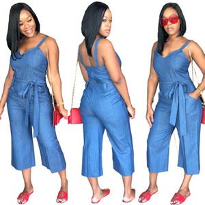 Women Summer Spaghetti Strap Sleeveless Casual Denim Jumpsuit Bow Sash Pockets Calf Length Overall Srteetwear Loose Romper
