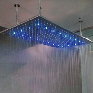 "20 * 40 ""Quadrat Edelstahl Overhead LED Regen Duschkopf Niederschlag Badezimmer Top Sprayer Wasserhahn Kopf Neu"