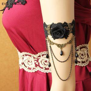 빈티지 체인 어퍼 팔 팔찌 팔찌 여자의 보석 웨딩 파티 액세서리 Craft Italian Black Lace Bracelets 브랜드 AT-38