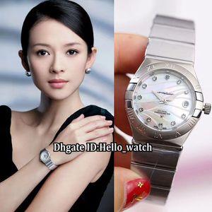 Neue 27mm Konstellation Datum 123.10.27.20.57.001 Conch Diamant Zifferblatt Automatische Womens Watch Sapphire Edelstahlband Dame Uhren