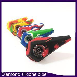 Diamond Silicone Pipes Acqua Narghilè Bong Hand Hand Pipes con galss Bowl VS twisty glass blunt 0266199-1