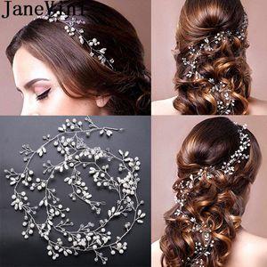 JaneVini Kristal Kafa Düğün Saç Aksesuarları Inci Lüks Altın / Gümüş 1 M gelin Hairbands Başlığı Hairwear Pageant Gelin Tiara