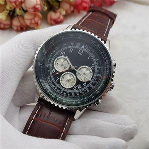 2018 Hot 3 Dials Reloj de cuarzo de trabajo Reloj de pulsera de cronógrafo para hombre de cuero para hombre Reloj de acero inoxidable clásico Pilogs de Relogio