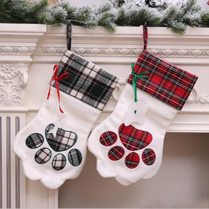 Warm Large Plaid Paw Christmas Stocking for Dog Cat Christmas Gift Bags Xmas Tree Ornaments New Year Decoration