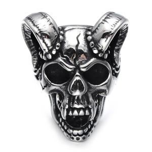 Lujoyce панк готический кастинг зло проклятый вампир Козья голова кости кольцо Титана нержавеющей стали череп кольцо для мужчин ювелирные изделия