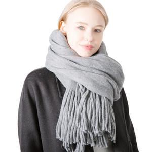 Мода простые женщины шарф кисточкой Шали новый дизайнер Осень Зима кашемир Warps роскошные твердые пашмины шарфы для женщин