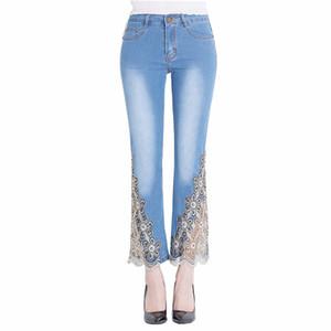 WZJHZ 2018 Nouveau Femmes Jeans taille haute broderie mode Wome dentelle broderie dentelle Denim Pantalon de Bell Bottom Pants Jean Femme