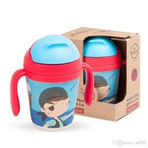 Botellas de agua de los niños Botellas de agua Ventosa de fibra de bambú con paja Bebida Más agua Dibujos animados lindo Patrón múltiple Caldera removible 30ae ii