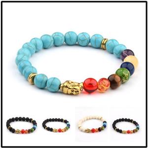 designer jewelry beaded bracelets natural lava stone buddha's head lucky bracelets colorful yoga bracelets for unisex