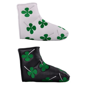 Golf Club Headcover Green Four Leaf Clover PU Golf Putter Protective Cover 2colors