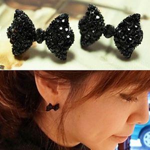New Chic One Pair Cute Black Rhinestone Crystal Bowknot Bow Tie Stud Earring
